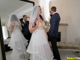 Slutty bride seduces father-in-law-to-be into fucking her butthole