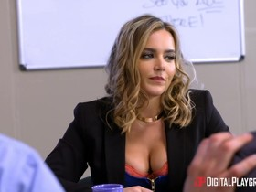 Wavy haired beauty with big naturals fucked hard in the office