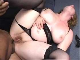 Chubby Redhead fucked in the ass wearing a thong
