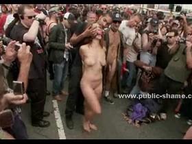 Naked slut walked and humiliated